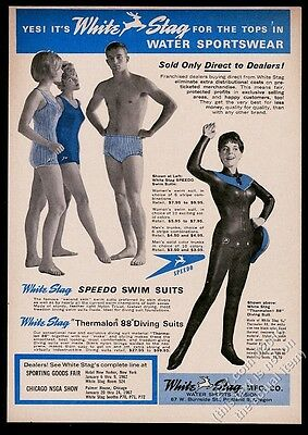 1963 White Stag Speedo women's men's swimsuit Thermalon diving wetsuit photo ad
