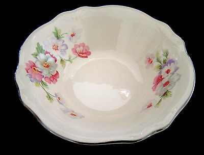 "HOMER LAUGHLIN VIRGINIA ROSE (Fluffy Rose) Cereal Bowl 6"" Platinum Trim"