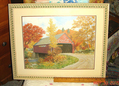 Vtg Robert Doares Carved Frame Matted Coke Cola Covered Bridge In Fall Picture