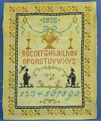 1928 Cross Stitch Sampler, Hand Made Vintage Sewing, Alphabet, Numbers, Flowers