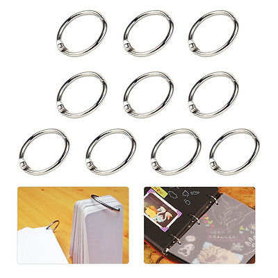 10pcs Metal Loose Leaf Book Binder Album Split Hinge Ring Snap Scrapbook Keyring