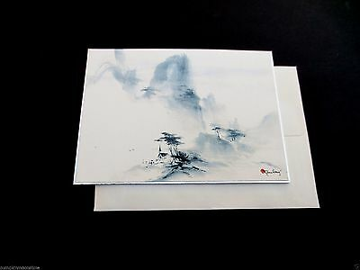 Vintage Unused Tyrus Wong Xmas Greeting Card Church Middle of Canyon, Stunning!!