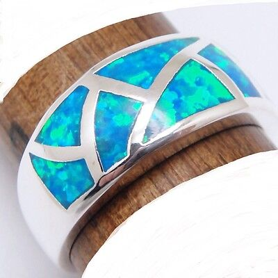 New Size 8 1/4 Ring + Free Gift Box! Haunted Witch Blue Green Opal + Silver 8.25
