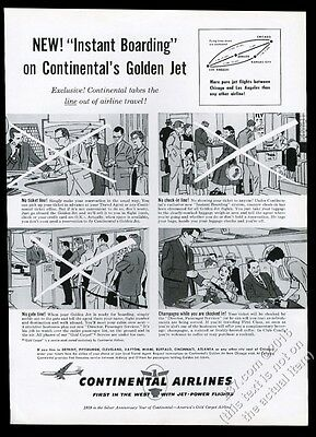 1959 Continental Airlines First Class stewardess steward buy ticket on plane ad