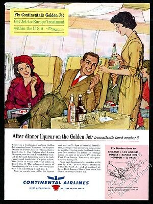 1961 Continental Airlines First Class stewardess color art vintage print ad