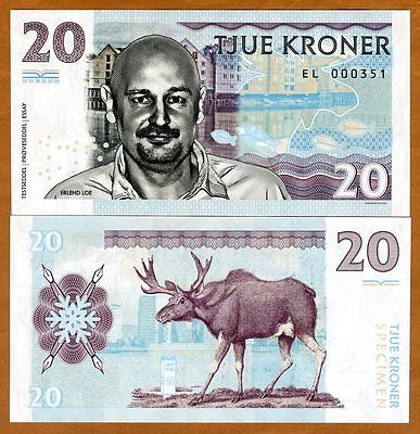 Norway, 20 Kroner, 2016 Private Issue Essay Specimen UNC > Erlend Loe, Moose