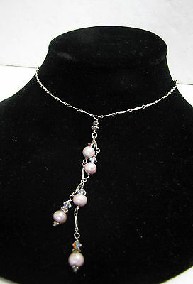 Vintage 925 Sterling Silver Pink Pearl & Crystal Necklace