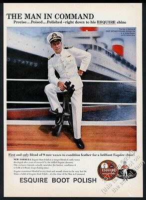 1959 SS United States ship & Chief Officer photo Esquire Boot Polish print ad