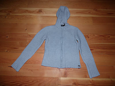 Kid's Dkny Jeans Gray Wool / Acrylic Zipper Front Hooded Sweather Size M