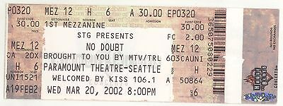 Rare NO DOUBT 3/20/02 Seattle WA Paramount Theatre Concert Ticket!