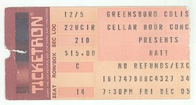 Rare RATT & CHEAP TRICK 12/5/86 Greensboro NC Concert Ticket Stub!