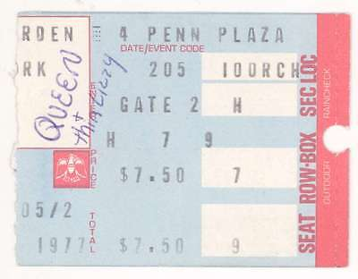 Queen & Thin Lizzy 2/5/77 NYC NY Madison Square Garden Concert Ticket Stub! MSG