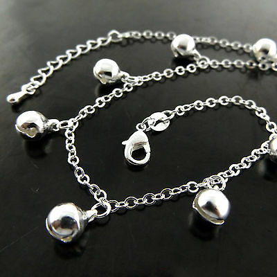 A771 Genuine Real 925 Sterling Silver S/f Ladies Bead Design Xl Bracelet Anklet