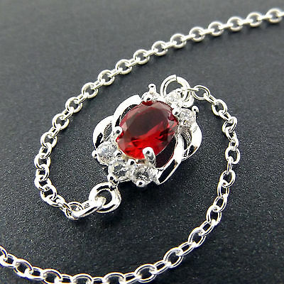 A233 Genuine Real 925 Sterling Silver Solid Ladies Girls Ruby Xl Bracelet Anklet