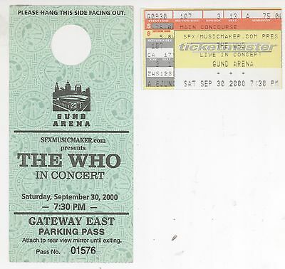 Rare THE WHO 9/30/00 Cleveland Concert Ticket Stub & Gund Arena Parking Pass!