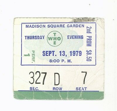 RARE The Who 9/13/79 NYC NY Madison Square Garden Concert Ticket Stub! MSG