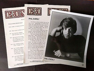 RARE Phil Everly Press Kit for Living Alone! Photo O06