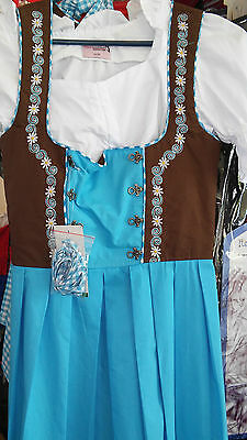 German,Trachten,May,Oktoberfest,Dirndl Dress,3-pc.Sz.4 Blues,Dark Brown.White.
