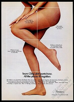 1973 Sears Cling-alon pantyhose woman color photo Sears vintage print ad
