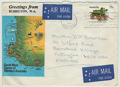 GREETINGS FROM BUSSELTON W.A. USED COLOURED AIR MAIL ENVELOPE WITH 75c STAMP
