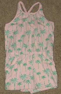 EUC GYMBOREE Hop 'n' Roll Pink Tropical Palm Tree Romper Size 10