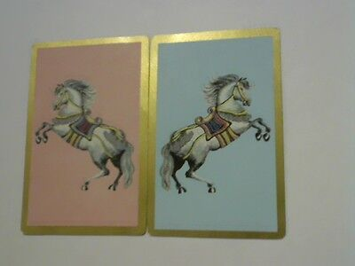 (2) Swap/Playing Cards - Pair Rearing Horses