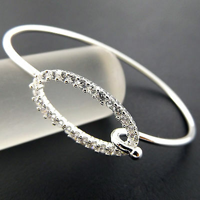 A811 Genuine Real 925 Sterling Silver S/f Diamond Simulated Cuff Bangle Bracelet