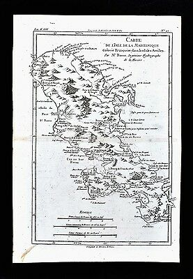 1779 Bonne Map - St. Martinique Island West Indies Caribbean Sea Saint Pierre