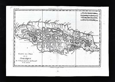 1779 Bonne Map - Isle de Jamaica - Montego Bay Port Royal Kingston - West Indies