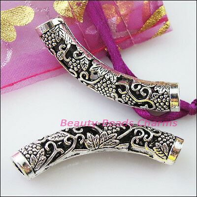 2 New Charms Wave Flower Tube Spacer Beads Connectors 50mm Tibetan Silver
