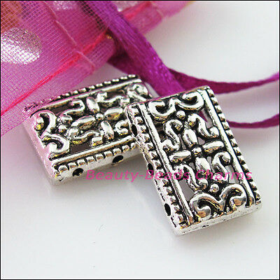 8 New Charms 2-2 Hole Flower Bar Spacer Beads Connector 12x17.5mm Tibetan Silver