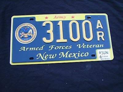 "New Mexico Us Army Vet Veteran  License Plate "" 3100 Ar ""  Military Service Nm"