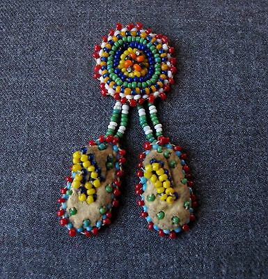 Vintage Native American Hand Beaded On Leather Dangling Booties Pin