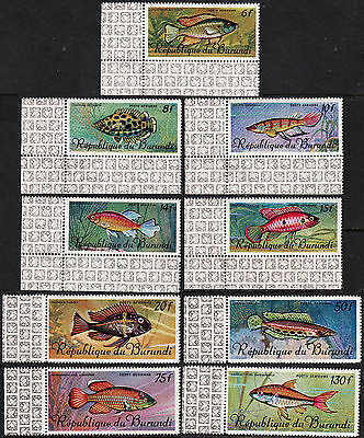 Burundi — Scott C46-C54 — 1967 Airmail Fish Set Of 9— Mnh — Scv $39.10