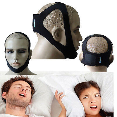 Anti Snore Jaw Strap Stop Snoring Solution Chin Support Strap Apnea Belt Black D