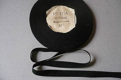 Vintage French Very Fine Black Cotton Tape or Ribbon. 11mms. x 2 Metres