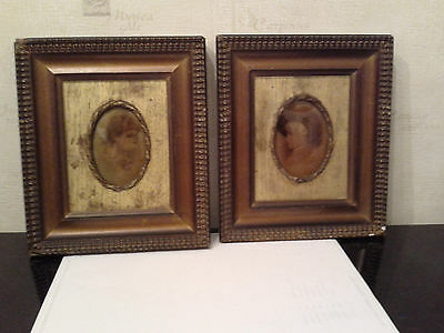 Antique  Pair  Of  Framed  19Th  Century  Crystoleums  -   Circa 1891
