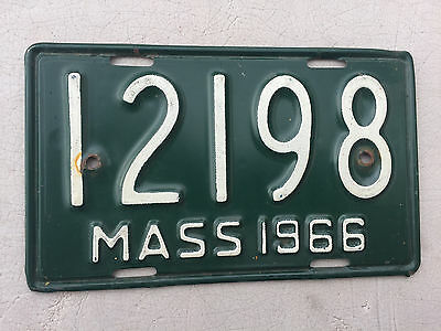 "1966 Massachusetts Motorcycle Cycle License Plate  "" 12198 "" Ma 66"
