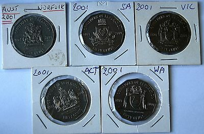 2001 FEDERATION  5 X  50c TOP  COINS  AS PHOTO