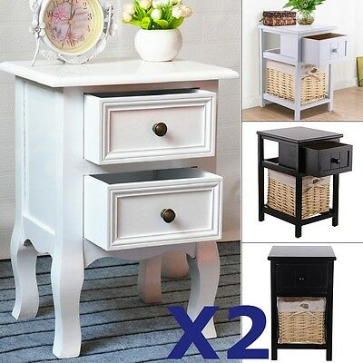 Pair of Shabby Chic Bedside Unit Tables Drawers Cabinet Bedroom + Wicker Storage