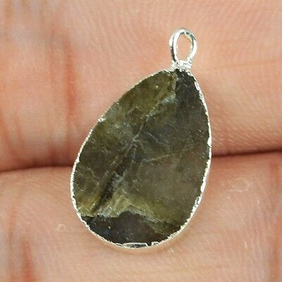 Drop Natural Labradorite Charm One Bail Silver Plated H72323