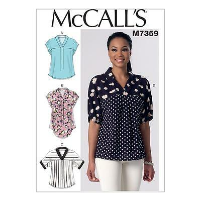 McCALL'S SEWING PATTERN MISSES' PULLOVER TOPS SIZE SIZE XSM - XXL M7359