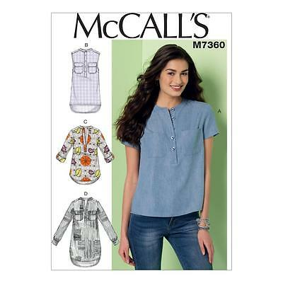 McCALL'S SEWING PATTERN MISSES' LOOSE-FITTING TOPS TOP SIZE 6 - 22 M7360