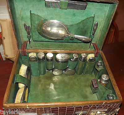 ANTIQUE REPTILE SKIN VANITY CASE - TRAVELLING CASE - SILVER BRUSHES & TOPS c1912
