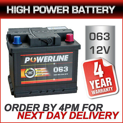 Type 063 Car Battery 12V 38Ah 4 Years Wty Sealed OEM - 54321