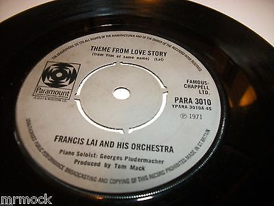 "FRANCIS LAI ORCHESTRA- THEME FROM LOVE STORY VINYL 7"" 45RPM p"