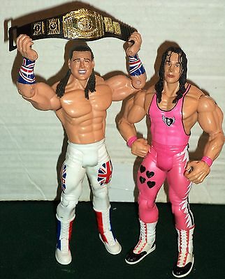 WWE WRESTLING FIGURES SUMMERSLAM 1992 BRET HITMAN HART Vs BRITISH BULLDOG & BELT