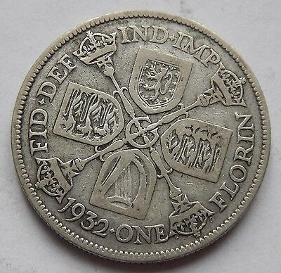 Florin George V 1932 SCARCE Date .500 Silver
