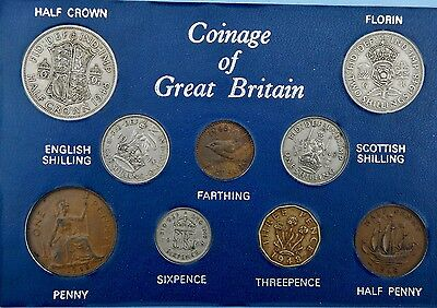 1948 Set of all Issued coins Halfcrown to Farthing on Card
