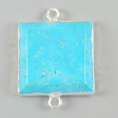Square Blue Howlite Turquoise Faceted Connector Silver Plated B026362